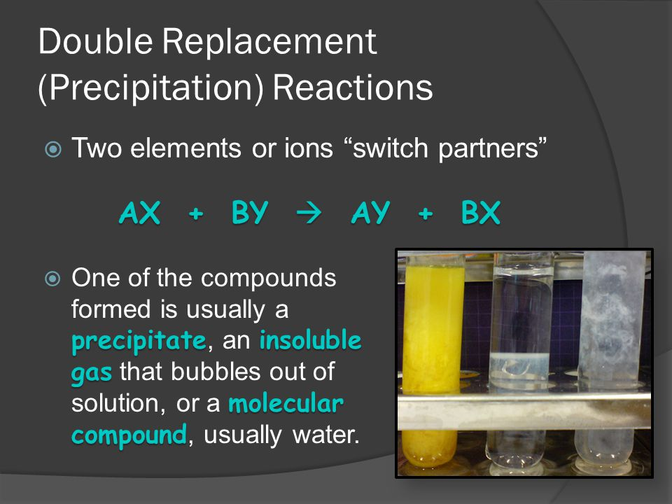 Double Replacement (Precipitation) Reactions