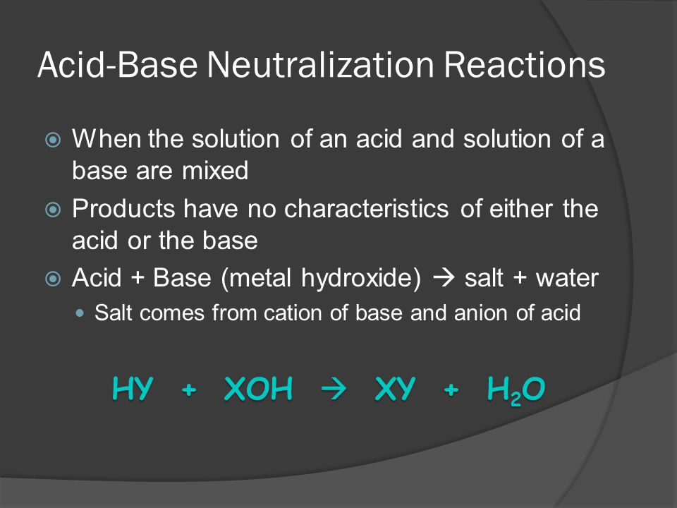 Acid-Base Neutralization Reactions