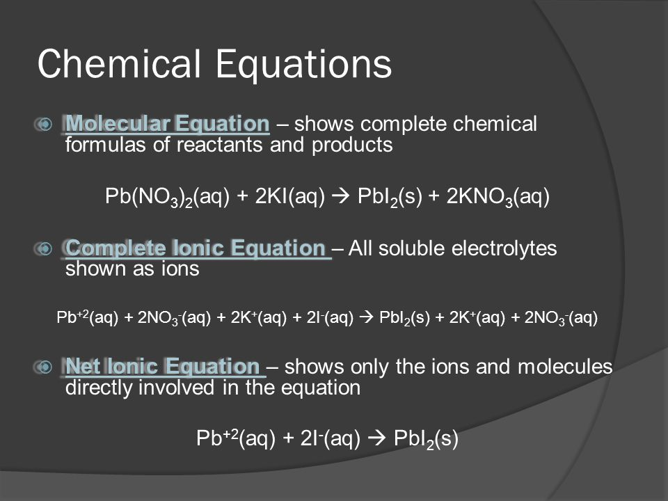 Chemical Equations Molecular Equation – shows complete chemical formulas of reactants and products.