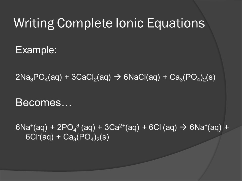 Writing Complete Ionic Equations