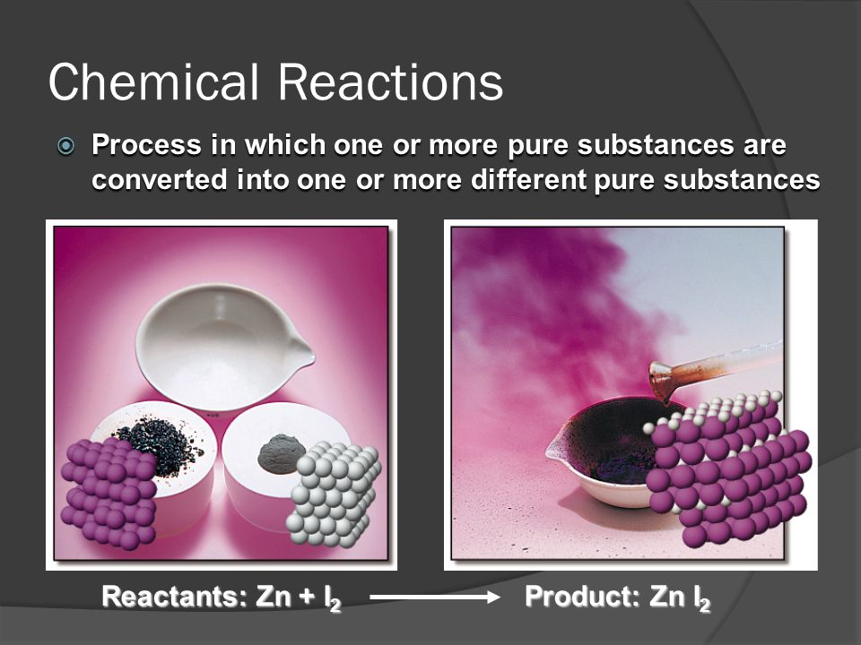 Chemical Reactions Process in which one or more pure substances are converted into one or more different pure substances.