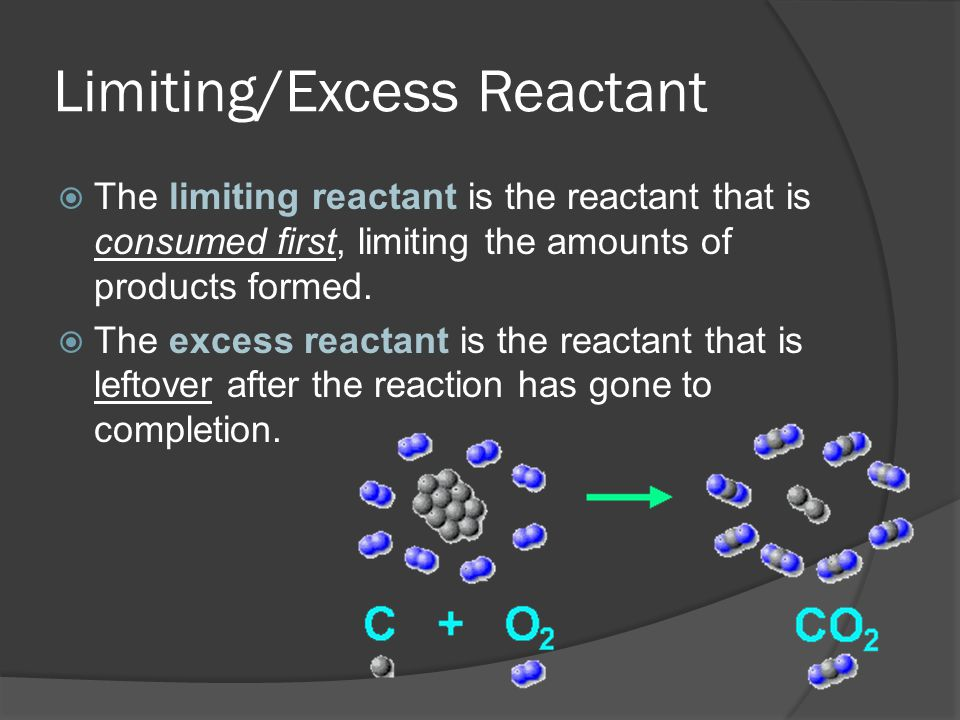 limiting and excess Chemical reaction equations give the ideal stoichiometric relationship among reactants and products however, the reactants for a reaction in an experiment are not necessarily a stoichiometric.