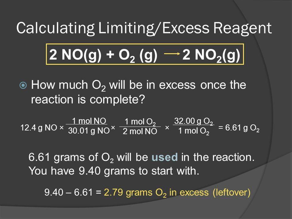 Calculating Limiting/Excess Reagent