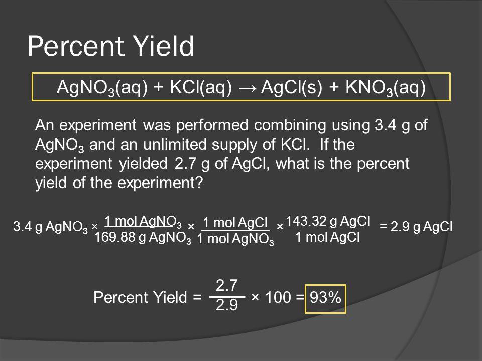 AgNO3(aq) + KCl(aq) → AgCl(s) + KNO3(aq)