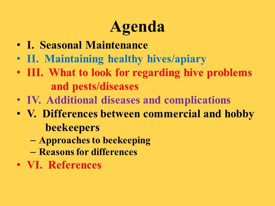 Agenda I. Seasonal Maintenance II. Maintaining healthy hives/apiary