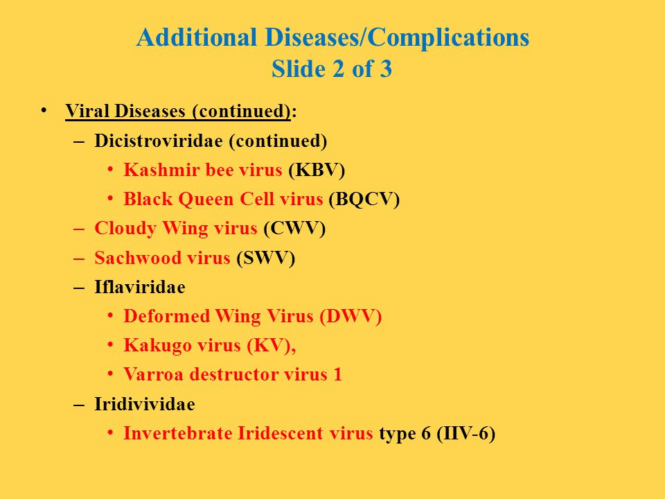 Additional Diseases/Complications Slide 2 of 3