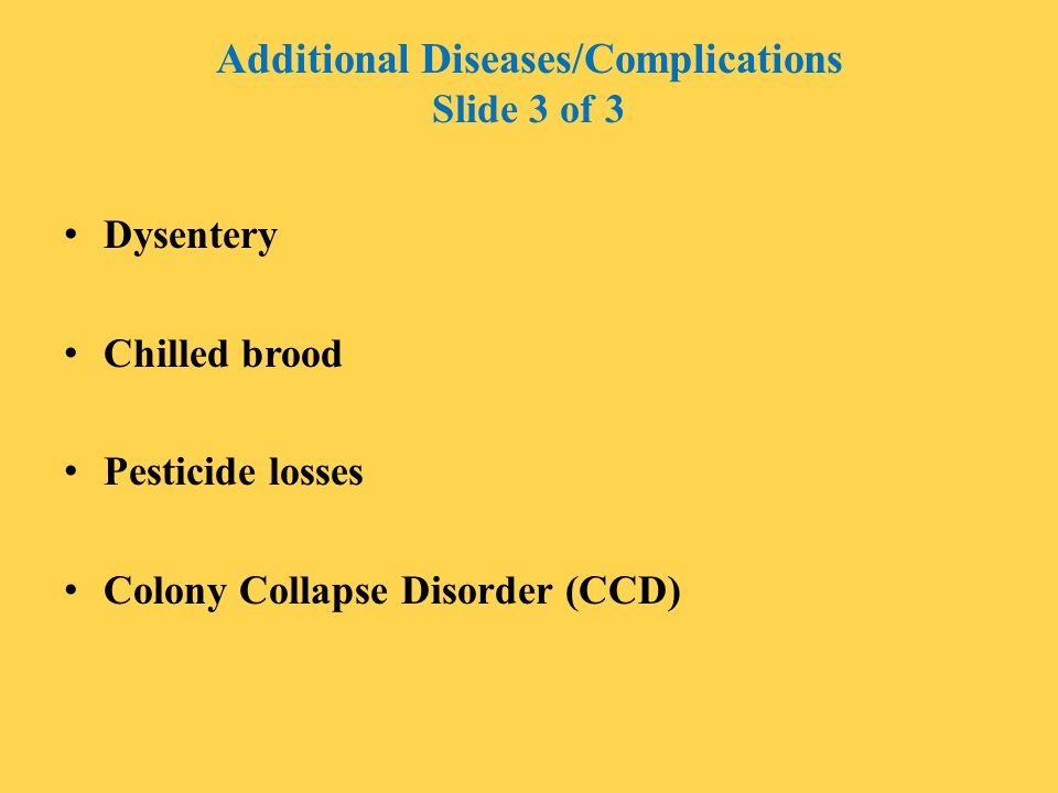 Additional Diseases/Complications Slide 3 of 3