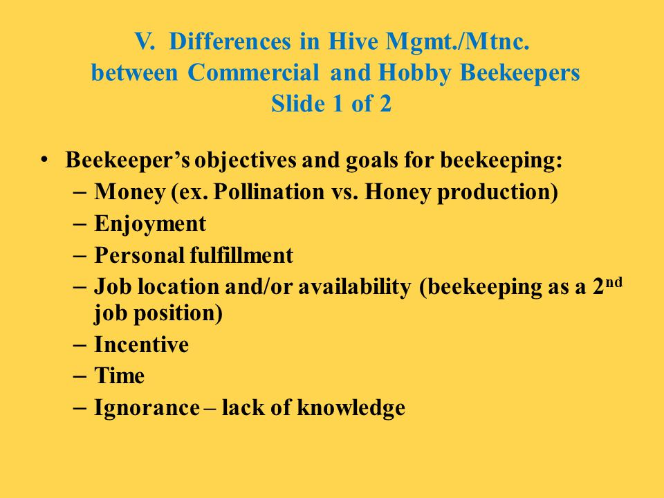 V. Differences in Hive Mgmt. /Mtnc