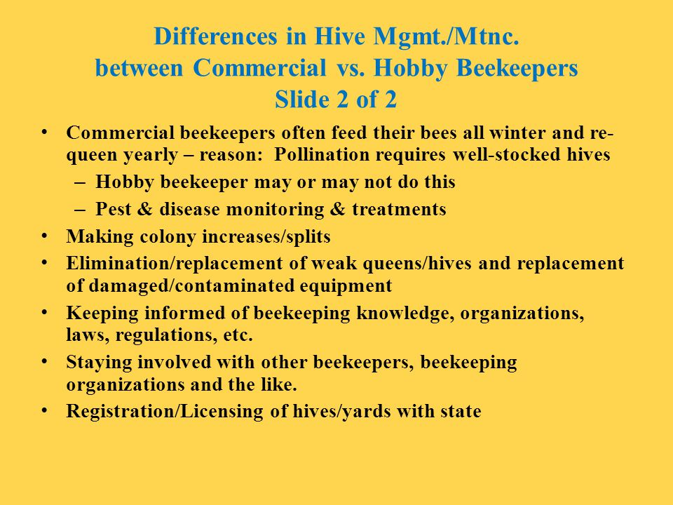Differences in Hive Mgmt. /Mtnc. between Commercial vs