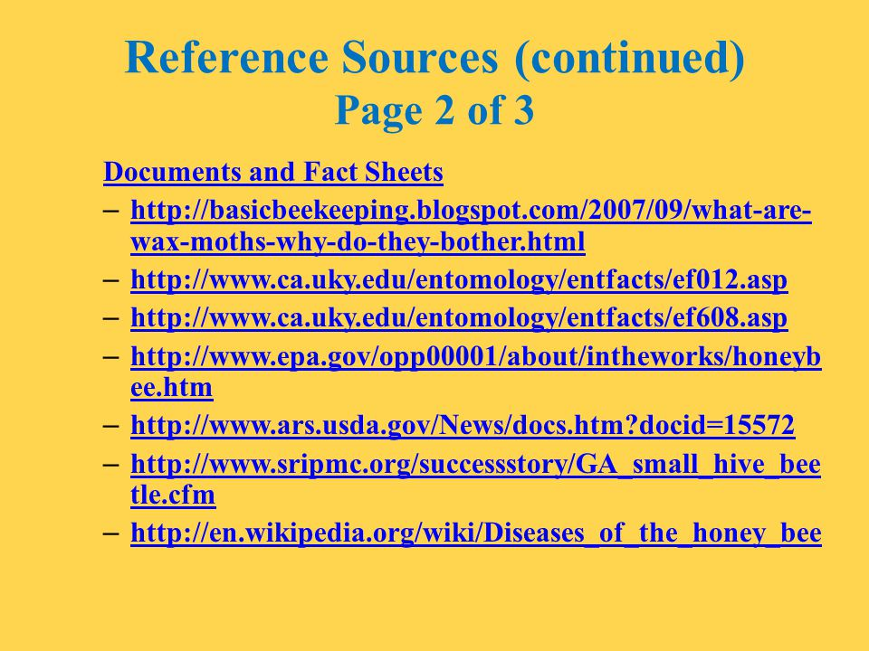 Reference Sources (continued) Page 2 of 3