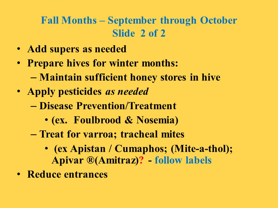 Fall Months – September through October Slide 2 of 2