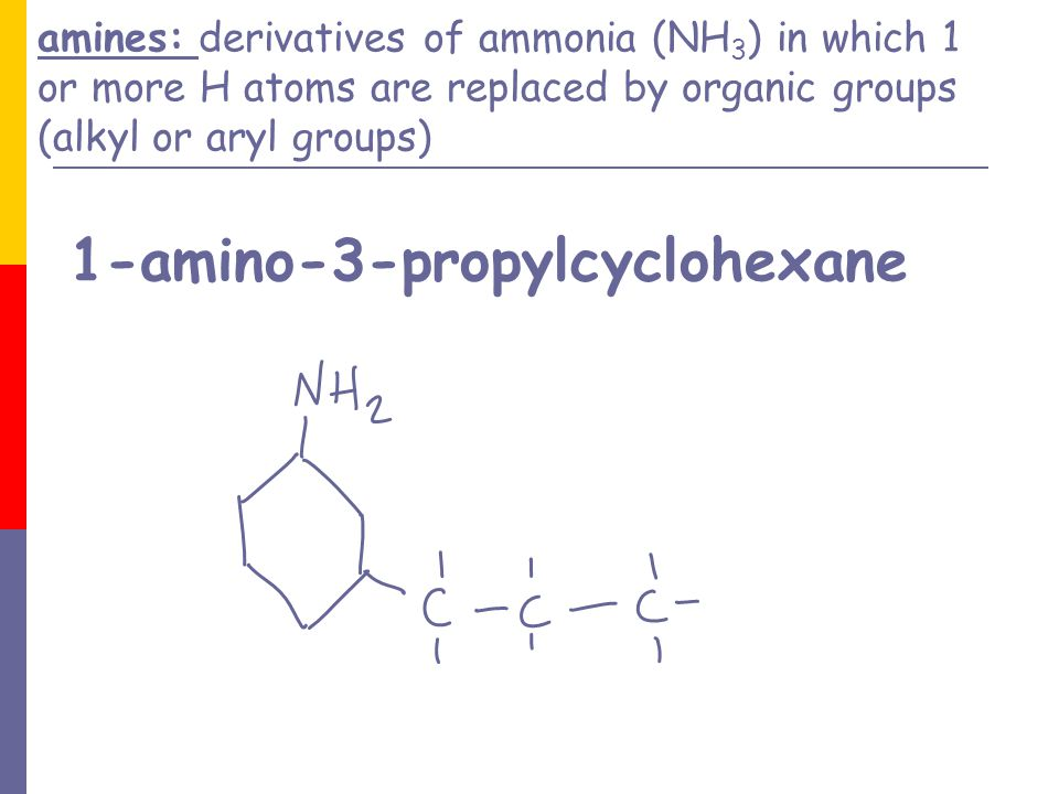 amines: derivatives of ammonia (NH3) in which 1 or more H atoms are replaced by organic groups (alkyl or aryl groups) 1-amino-3-propylcyclohexane