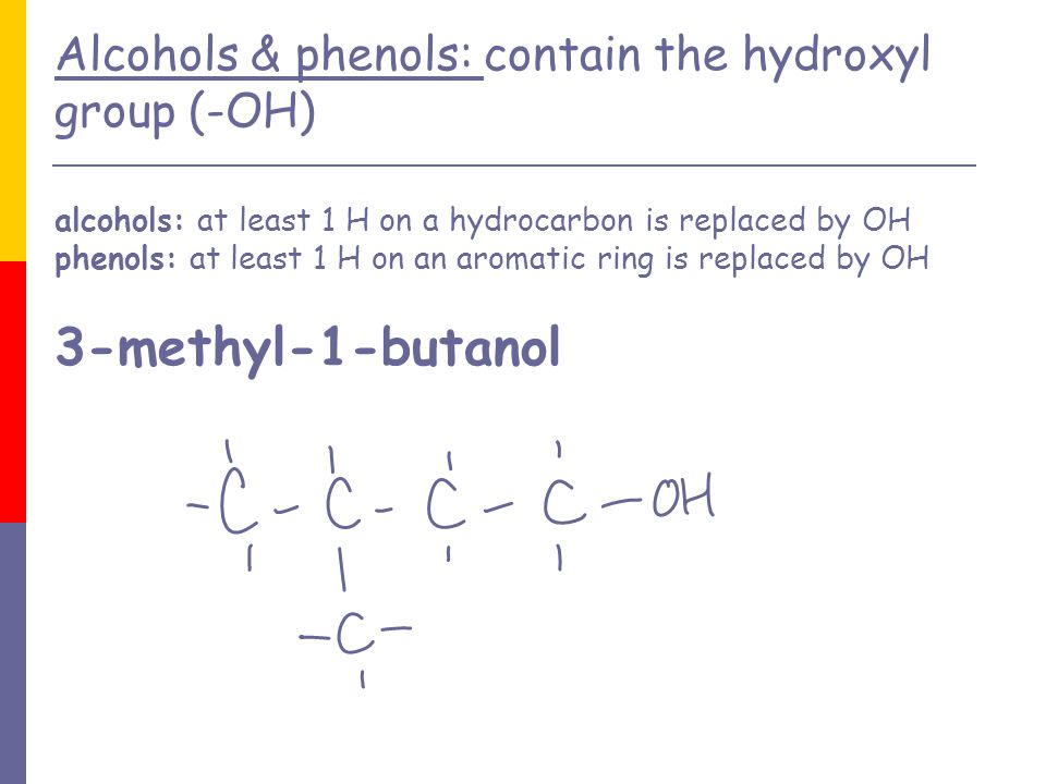 Alcohols & phenols: contain the hydroxyl group (-OH) alcohols: at least 1 H on a hydrocarbon is replaced by OH phenols: at least 1 H on an aromatic ring is replaced by OH 3-methyl-1-butanol