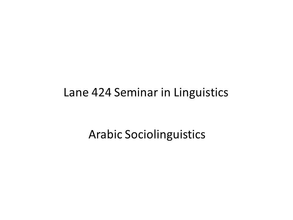 Lane 424 Seminar in Linguistics