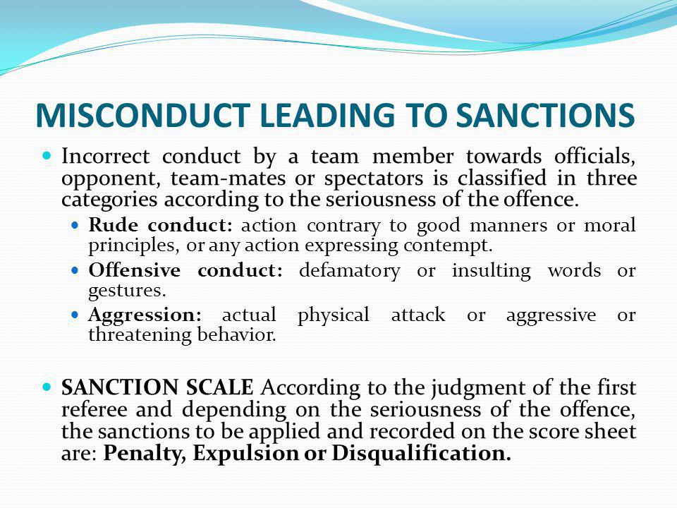 MISCONDUCT LEADING TO SANCTIONS