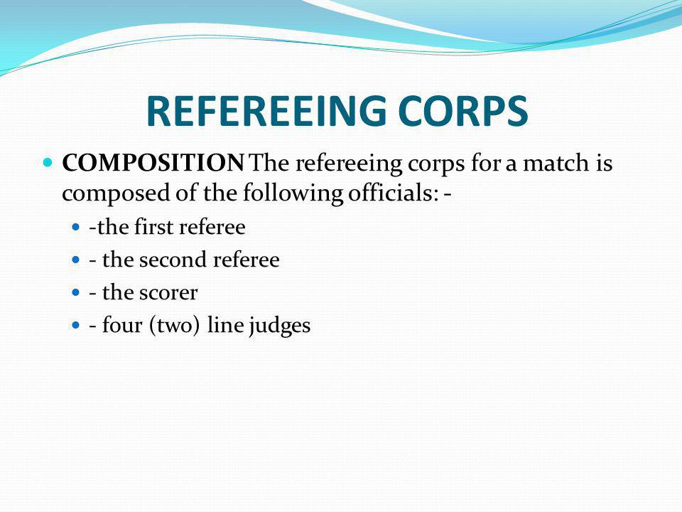 REFEREEING CORPS COMPOSITION The refereeing corps for a match is composed of the following officials: -