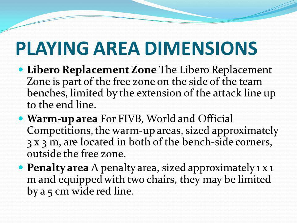 PLAYING AREA DIMENSIONS