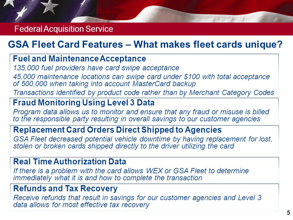 GSA Fleet Card Features – What makes fleet cards unique