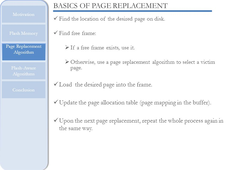 BASICS OF PAGE REPLACEMENT
