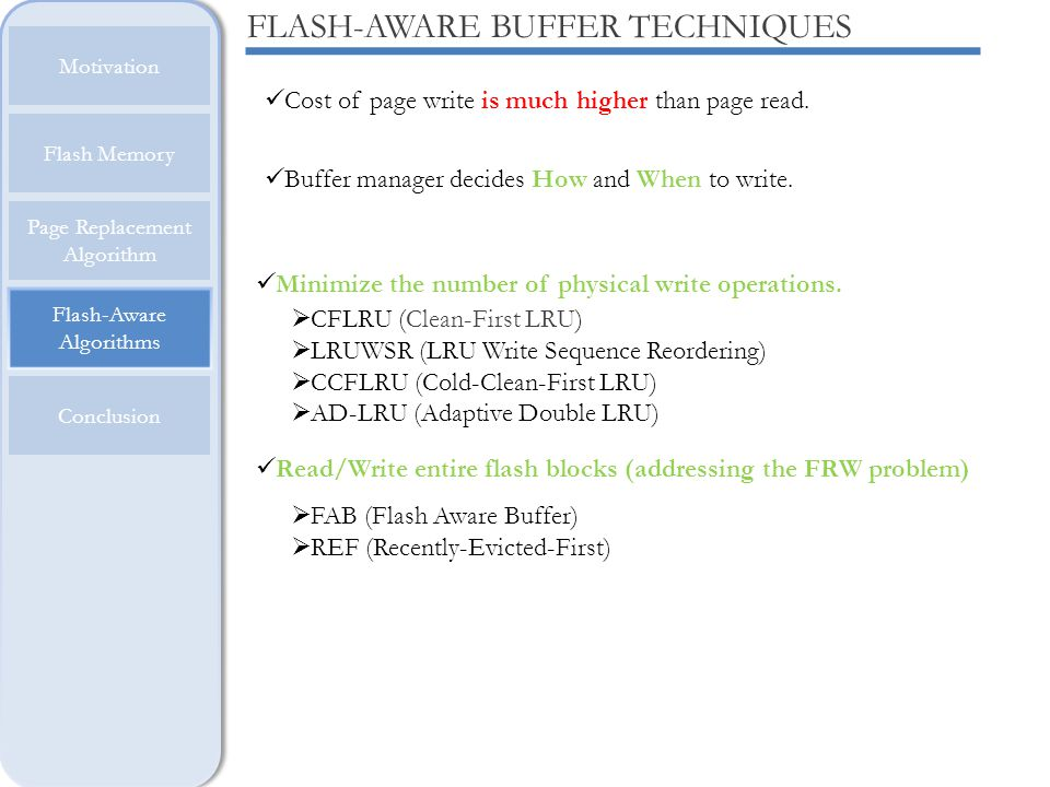 FLASH-AWARE BUFFER TECHNIQUES