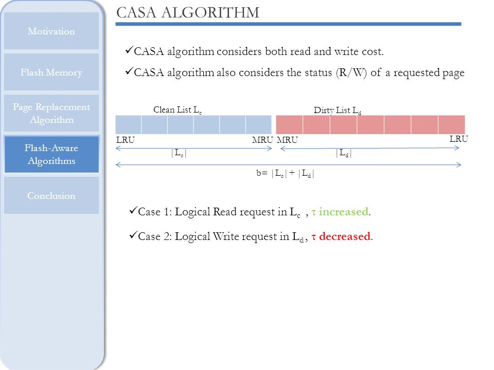 CASA ALGORITHM CASA algorithm considers both read and write cost.