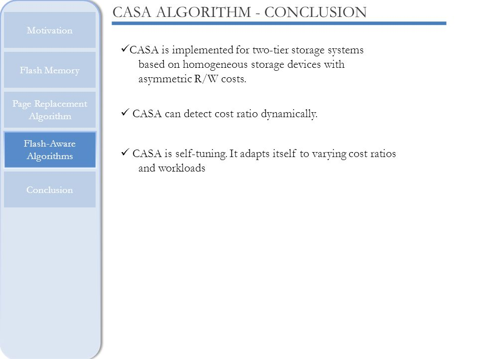 CASA ALGORITHM - CONCLUSION