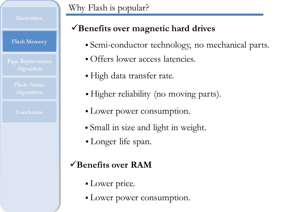 Benefits over magnetic hard drives