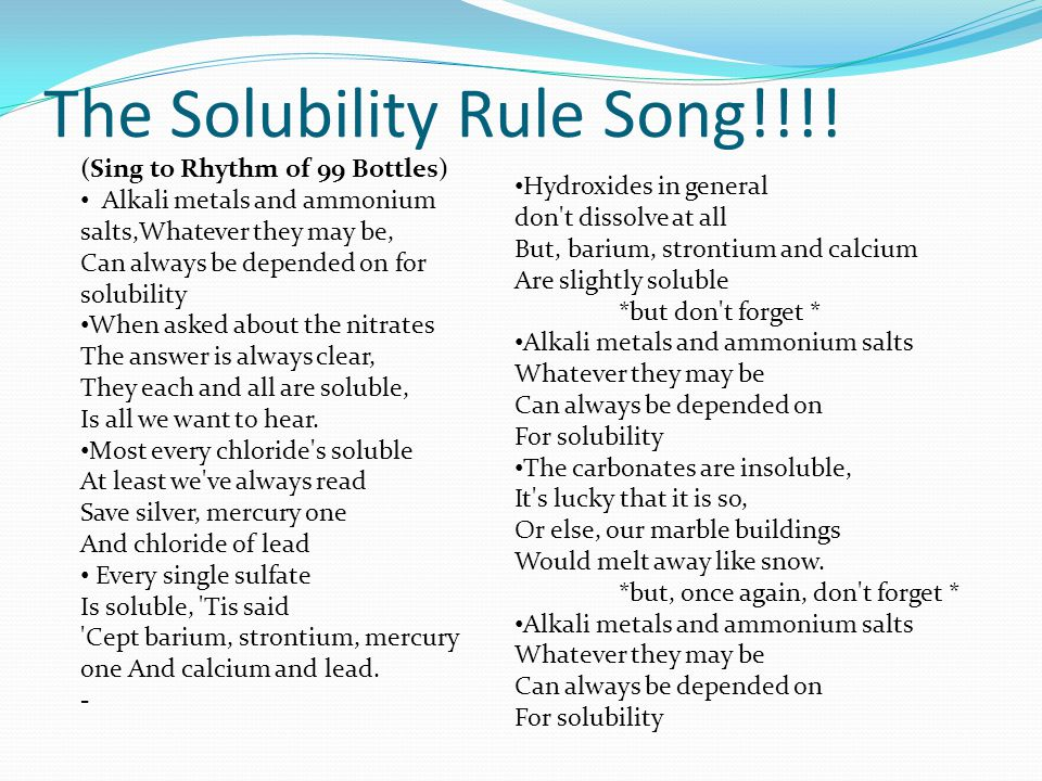 experiment basic solubility rules of salts Solubility equilibria a set of rules can be used to predict whether salts will precipitate which has both an acidic and a basic group.