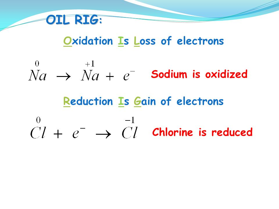 OIL RIG: Oxidation Is Loss of electrons. Sodium is oxidized.