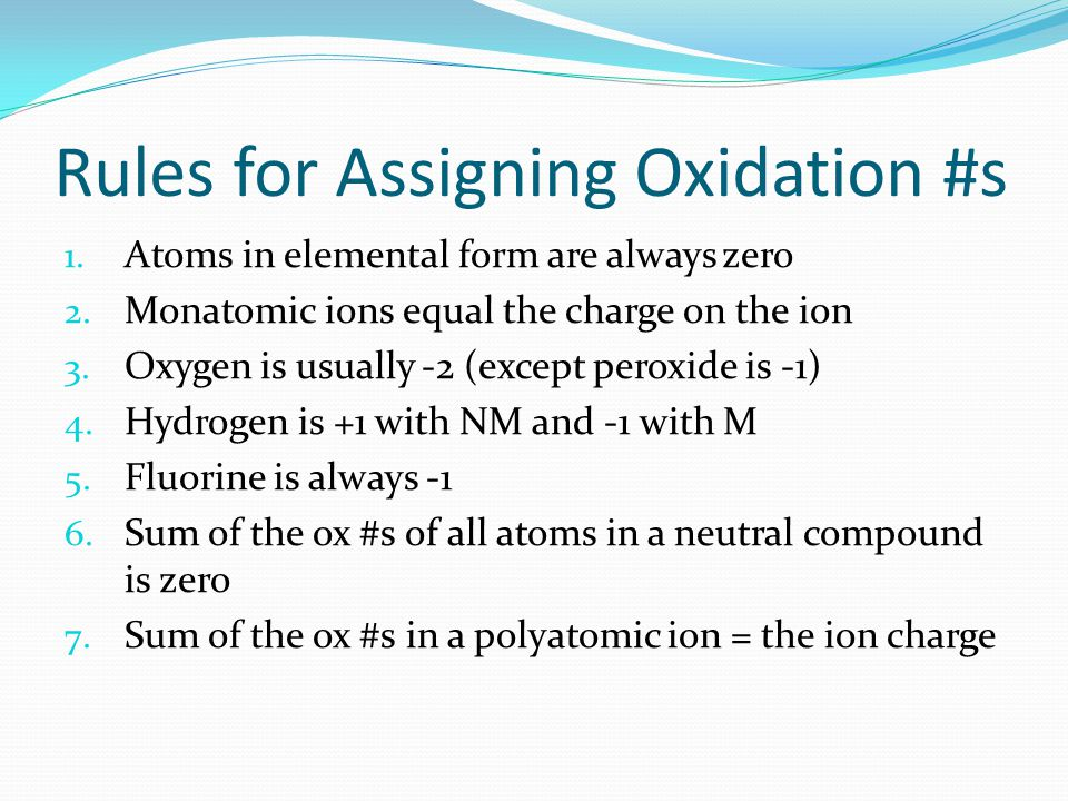 Rules for Assigning Oxidation #s