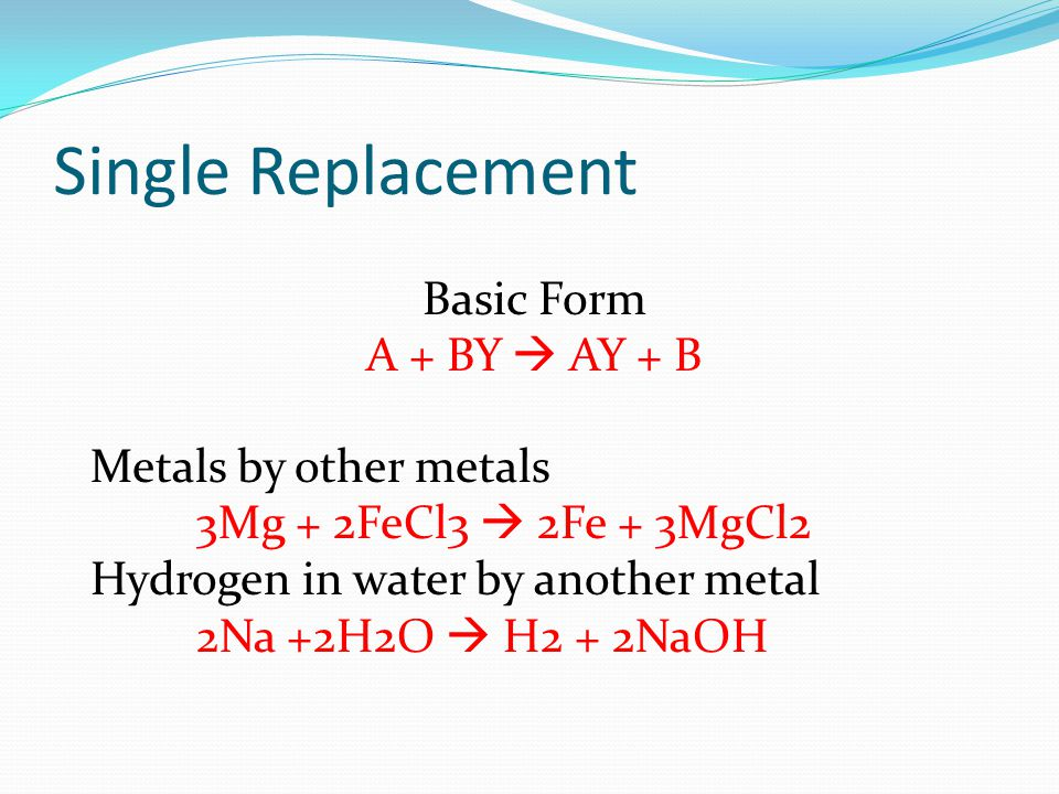 Single Replacement Basic Form A + BY  AY + B Metals by other metals