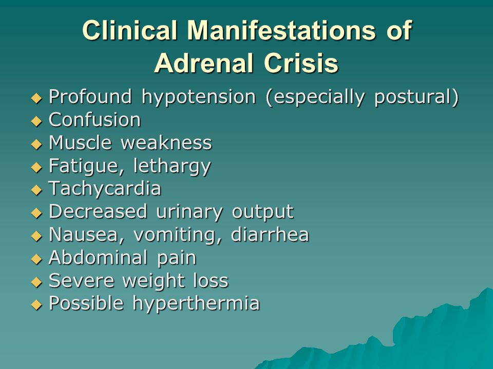 Clinical Manifestations of Adrenal Crisis