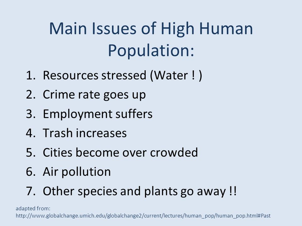 Main Issues of High Human Population: