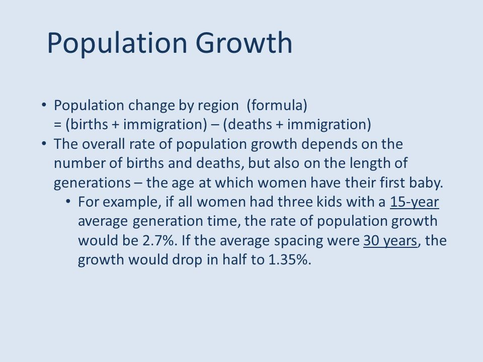 Population Growth Population change by region (formula)