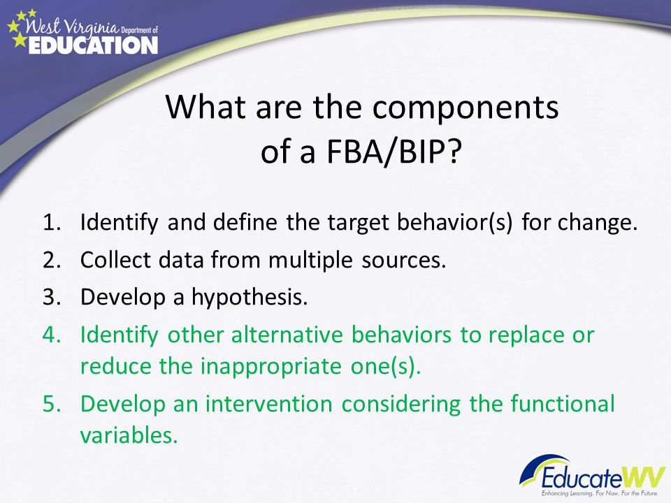 What are the components of a FBA/BIP