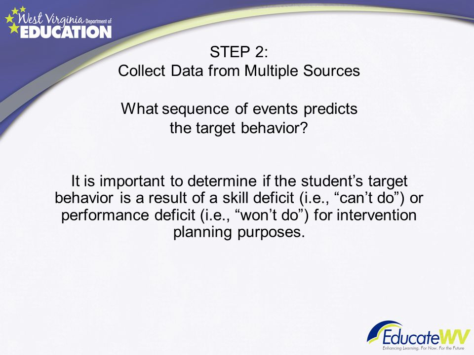 STEP 2: Collect Data from Multiple Sources What sequence of events predicts the target behavior