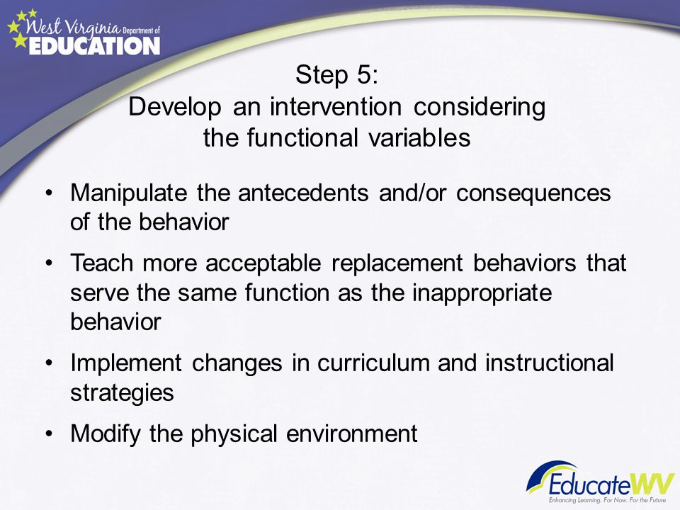 Step 5: Develop an intervention considering the functional variables