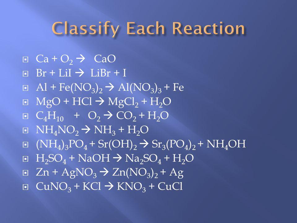 Classify Each Reaction