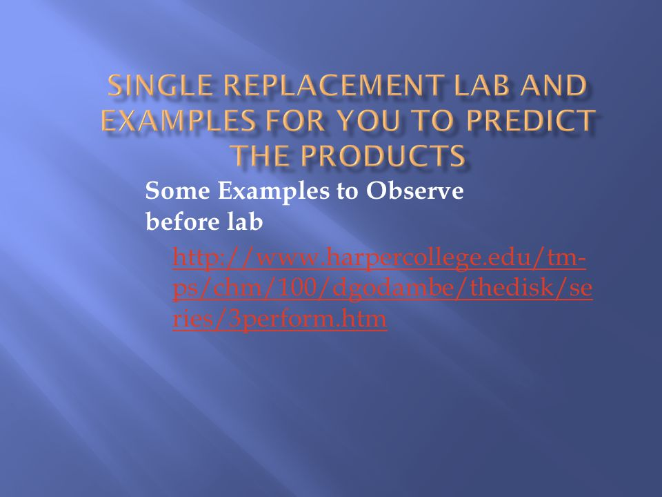 Single Replacement Lab and Examples for you to Predict the Products