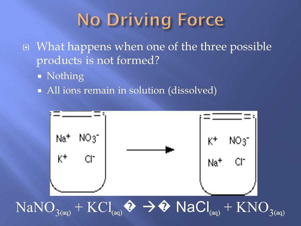 NaNO3(aq) + KCl(aq)� � NaCl(aq) + KNO3(aq)