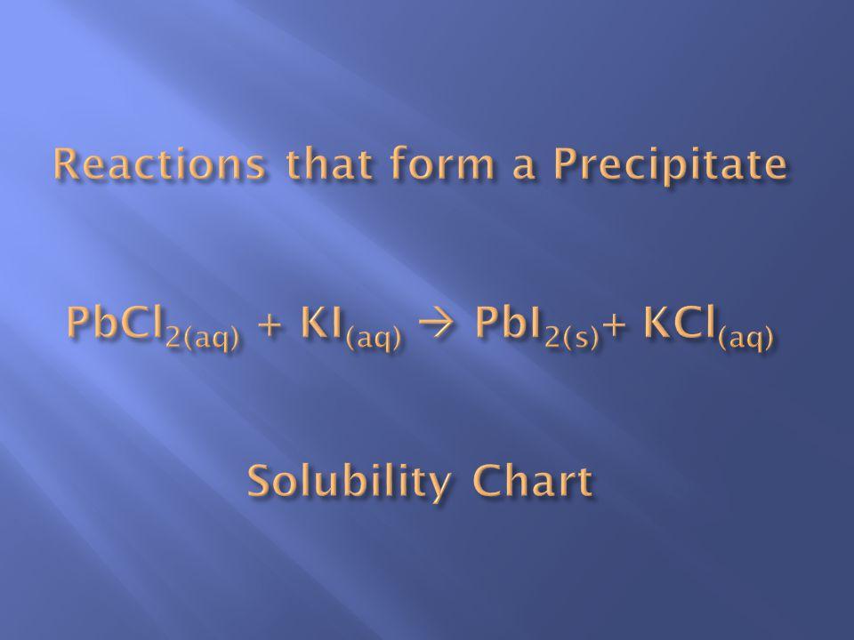 Reactions that form a Precipitate PbCl2(aq) + KI(aq)  PbI2(s)+ KCl(aq) Solubility Chart