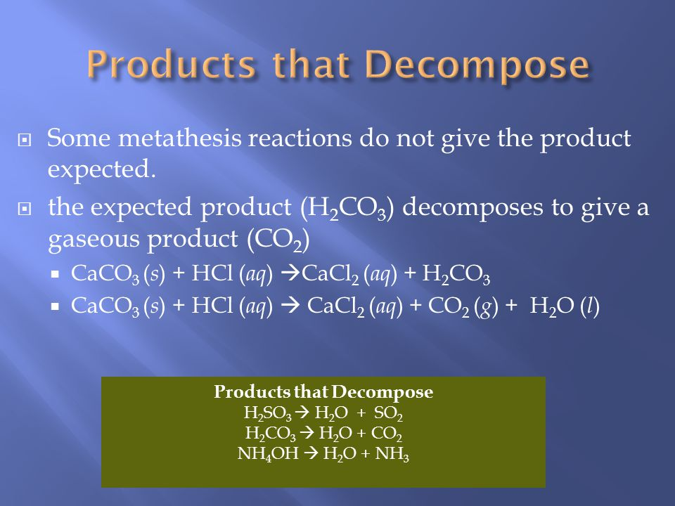 Products that Decompose