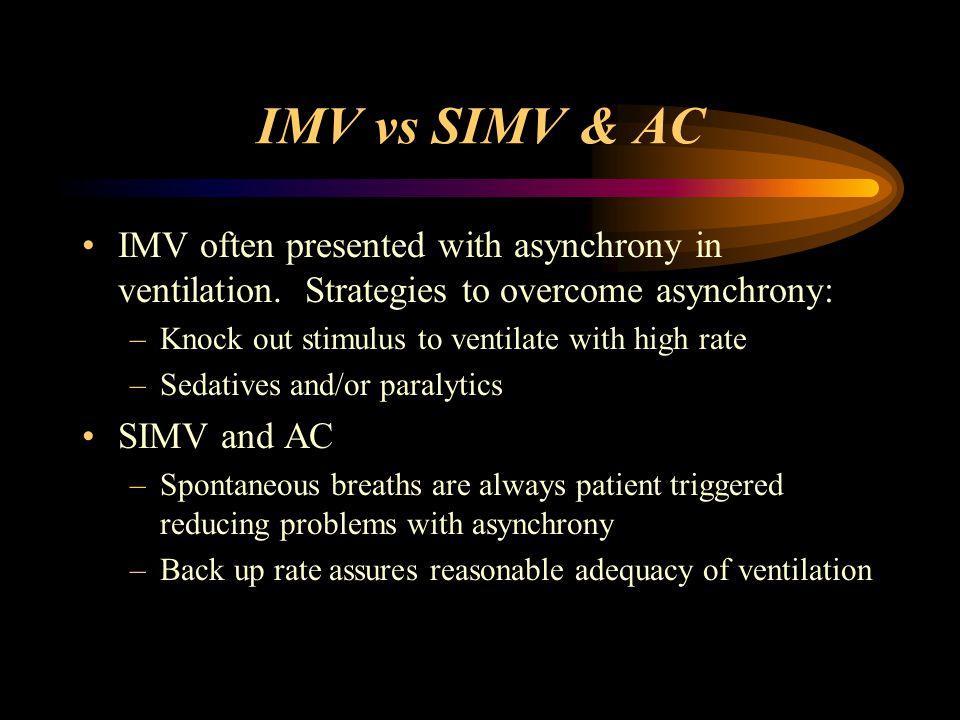 IMV vs SIMV & AC IMV often presented with asynchrony in ventilation. Strategies to overcome asynchrony: