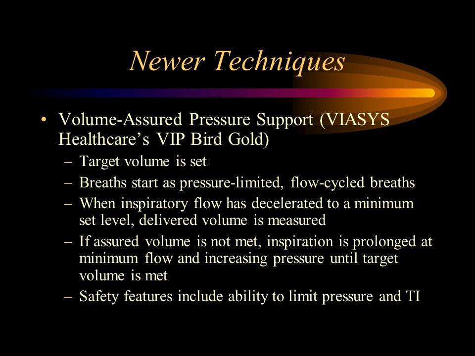 Newer Techniques Volume-Assured Pressure Support (VIASYS Healthcare's VIP Bird Gold) Target volume is set.