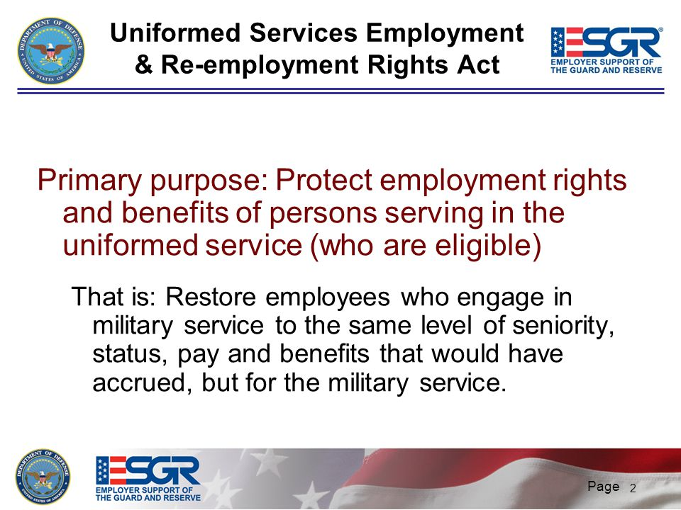 Uniformed Services Employment & Re-employment Rights Act