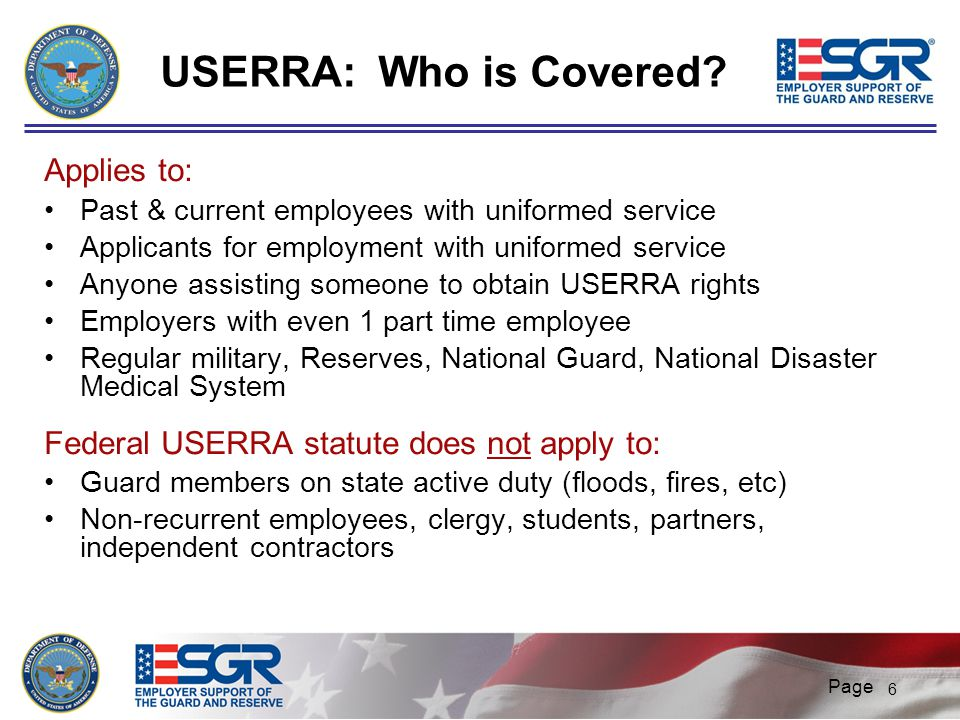 USERRA: Who is Covered Applies to:
