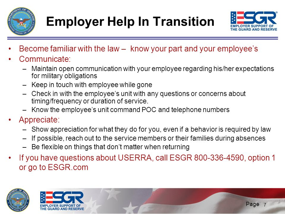 Employer Help In Transition