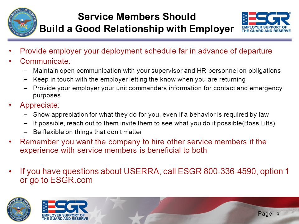 Service Members Should Build a Good Relationship with Employer