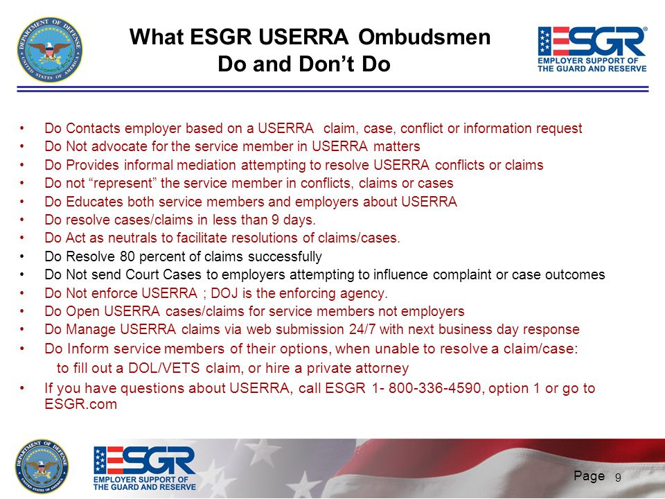 What ESGR USERRA Ombudsmen Do and Don't Do