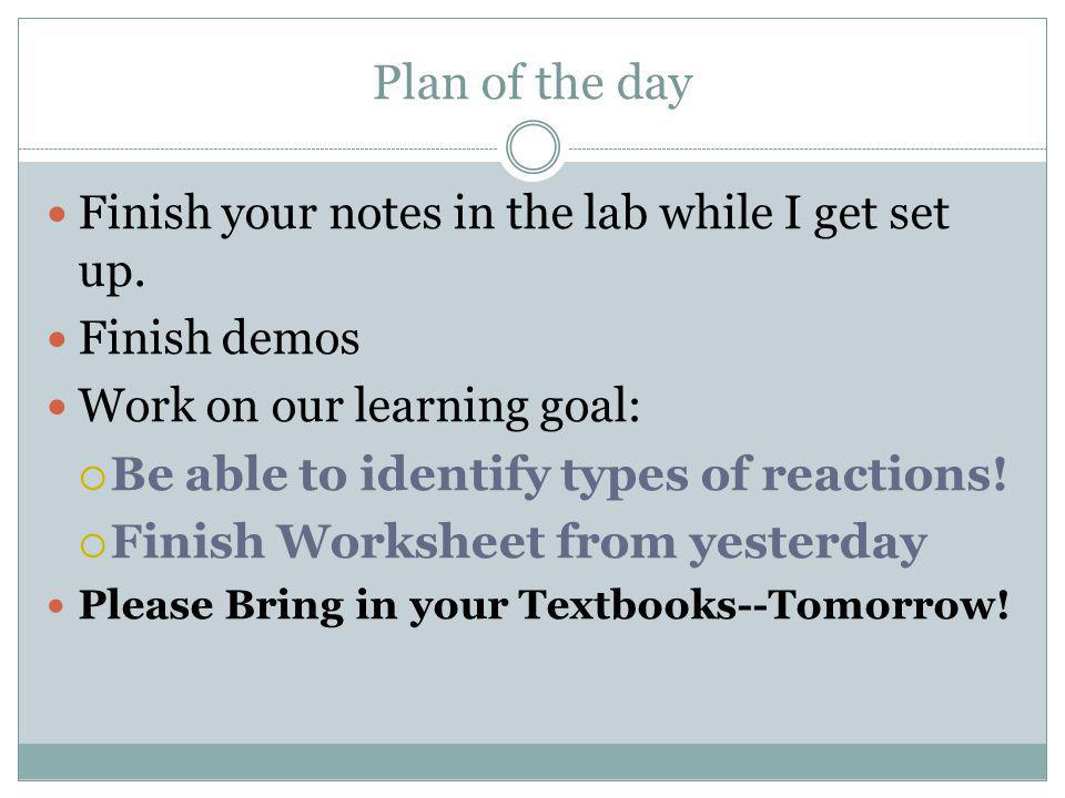 Plan of the day Finish your notes in the lab while I get set up.